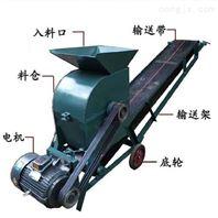 蓝江多功能移动式粉碎机电动输送带粉土机