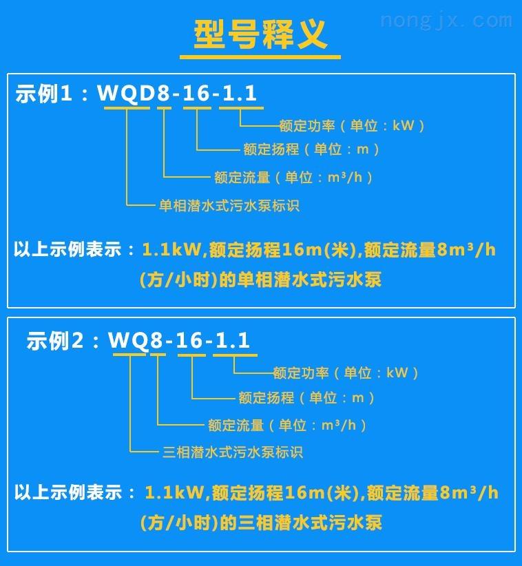 清水泵WQD8-16-1.1、WQ8-16-1.1型号含义